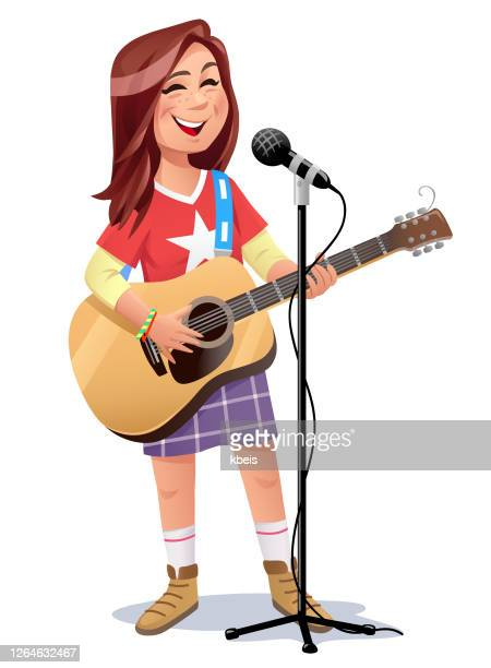 teenage girl singing and playing guitar - one teenage girl only stock illustrations