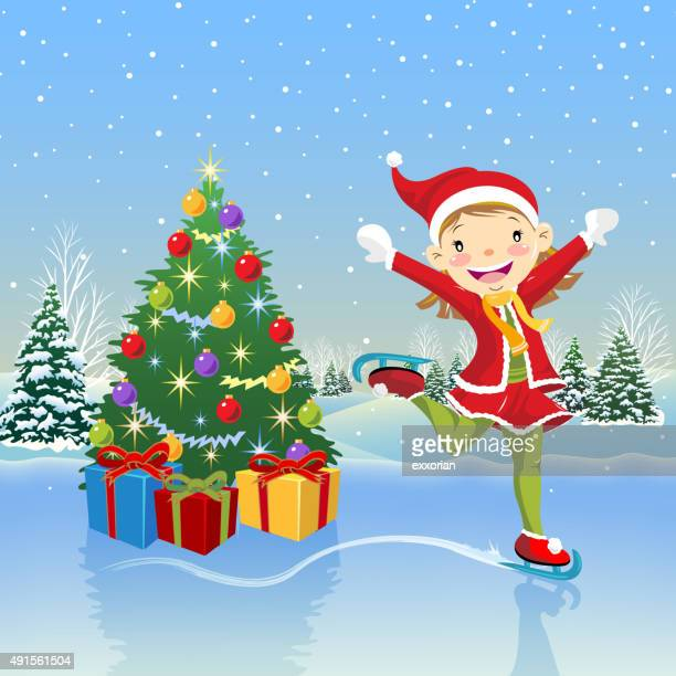 teenage girl skating around the christmas tree - ice skating stock illustrations, clip art, cartoons, & icons