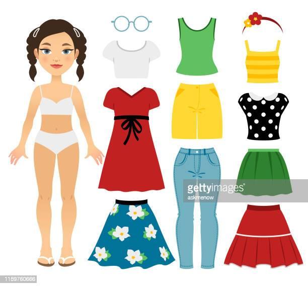 teenage girl's summer clothing - skirt stock illustrations