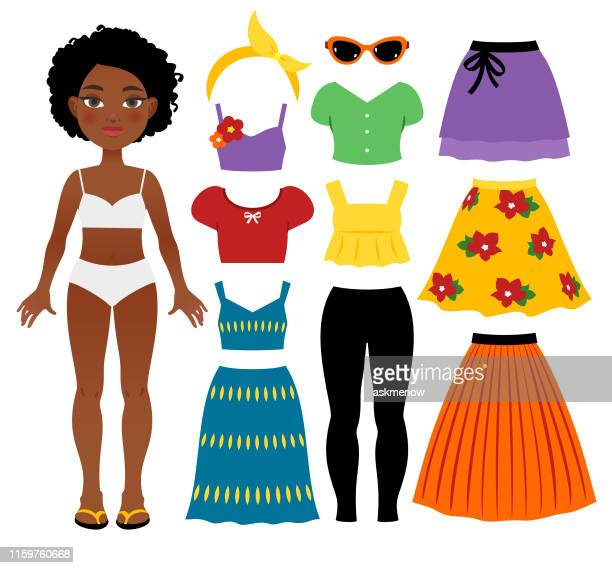 teenage girl's summer clothing - top garment stock illustrations