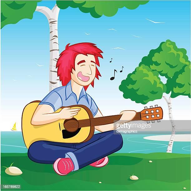 ilustraciones, imágenes clip art, dibujos animados e iconos de stock de teenage guitarrista es que cantan canciones con la naturaleza - puntear un instrumento