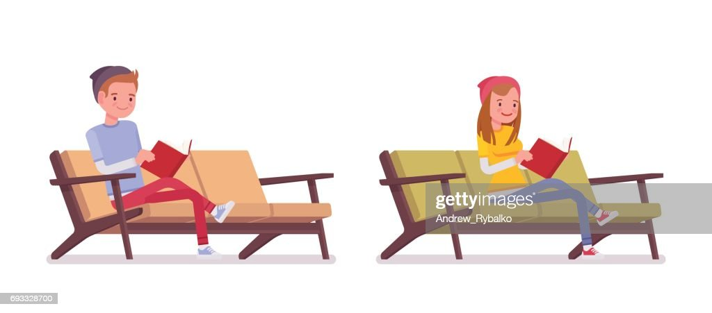 Teenager boy and girl reading