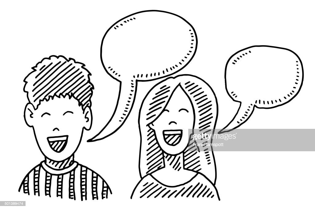 Teenager Boy And Girl Speech Bubble Drawing