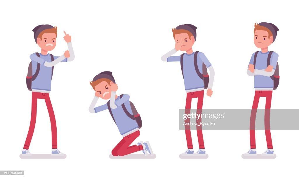 Teenager boy showing negative emotions