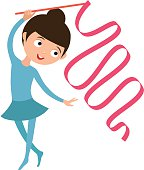Teenager doing gymnastics dance with ribbon little gymnast girl rhythmic