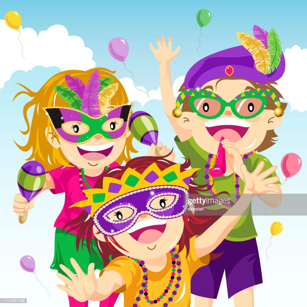 Teenager Dressing Up for Mardi Gras : stock illustration