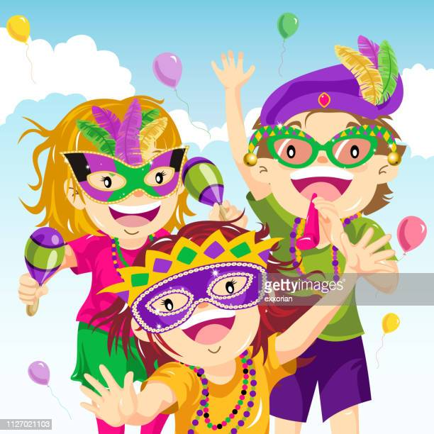 teenager dressing up for mardi gras - carnival stock illustrations