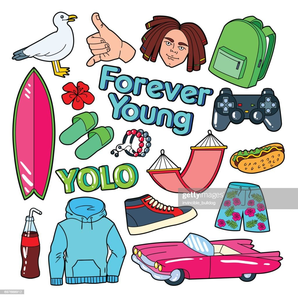 Teenager Lifestyle Doodle with Surf, Pink Car and Fast Food