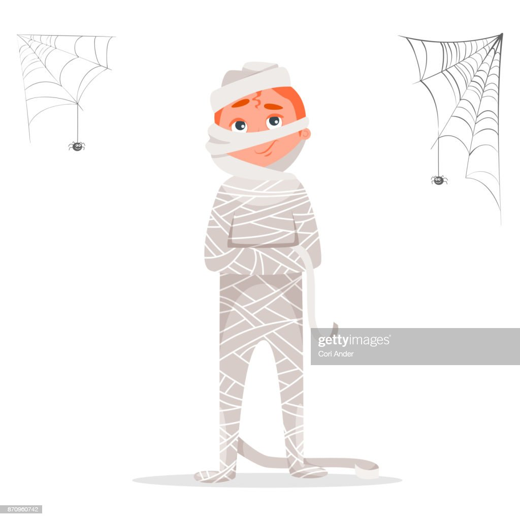 Teenager male dressed in costume of mummy celebrating Halloween party