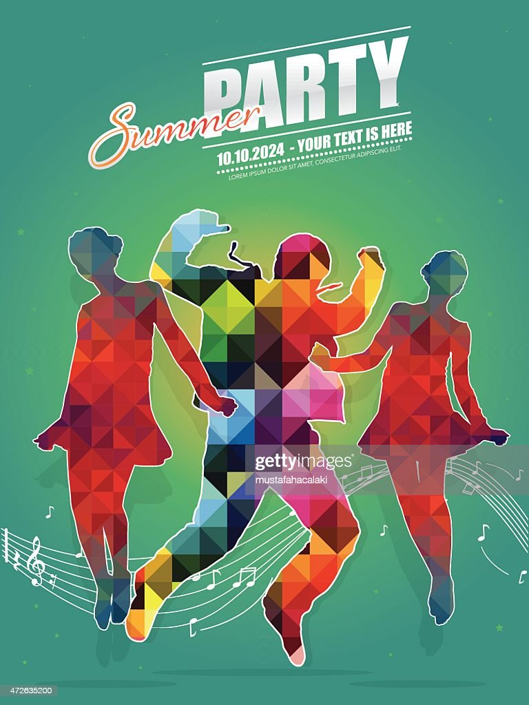 Teenager retro summer dance party poster