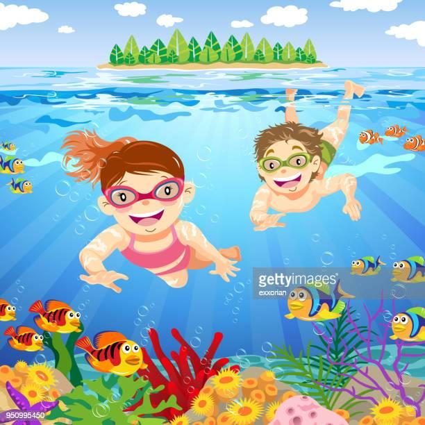 teenager snorkeling in summer - snorkel stock illustrations