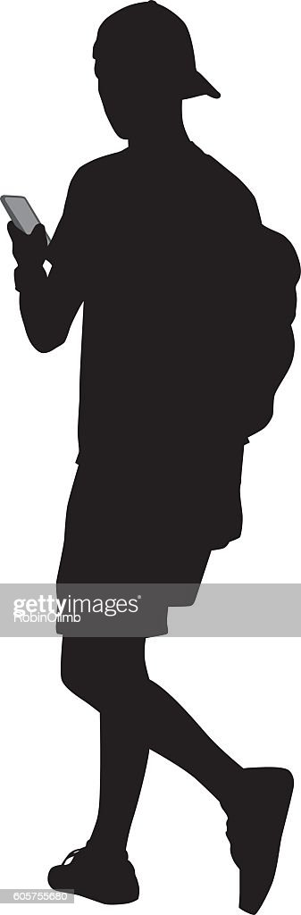 Teenager Walking With Smart Phone : Stock Illustration