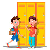 Teenagers Near Lockers In School Vector. Isolated Illustration