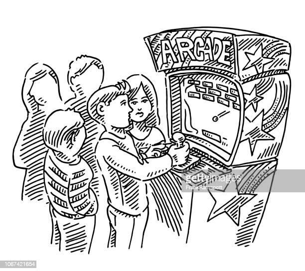 Tieners spelen Arcade Games tekening