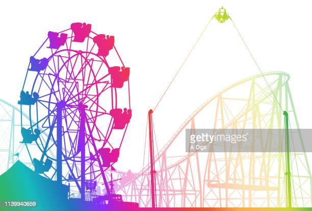 teenagers rainbow - ferris wheel stock illustrations, clip art, cartoons, & icons