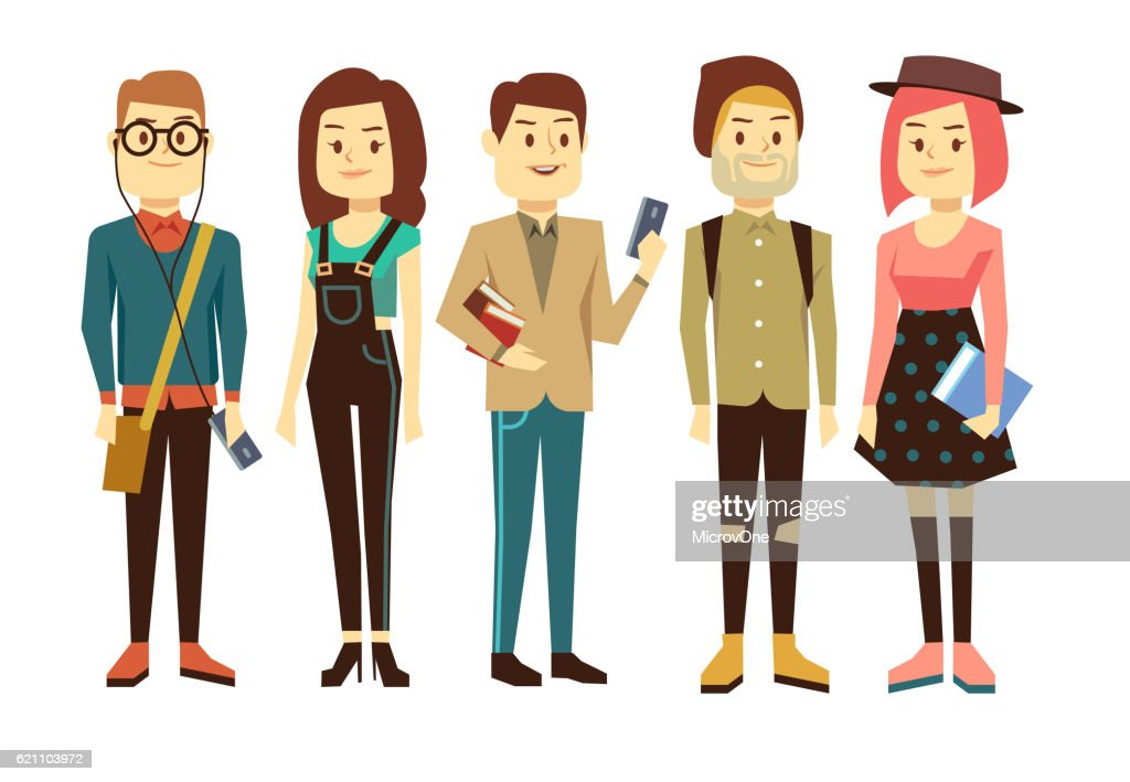 Teenagers, students with gadgets and books vector characters set