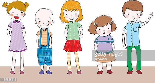 ilustraciones, imágenes clip art, dibujos animados e iconos de stock de grupo de adolescentes - obesidad infantil
