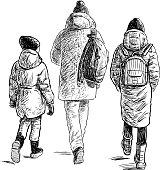 Teens friends going for a walk