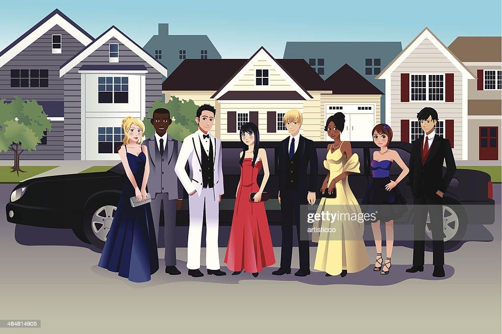 Teens in prom dress
