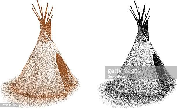 teepee isolated on white - teepee stock illustrations