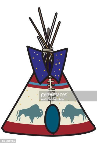 ilustraciones, imágenes clip art, dibujos animados e iconos de stock de tipi - indios americanos sioux