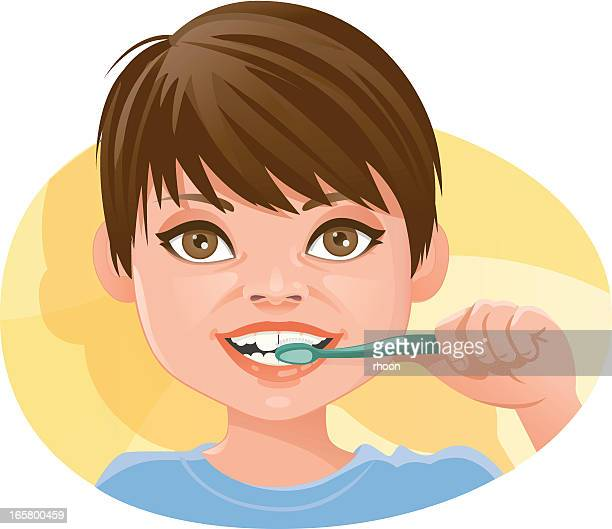 teeth brushing - brushing teeth stock illustrations