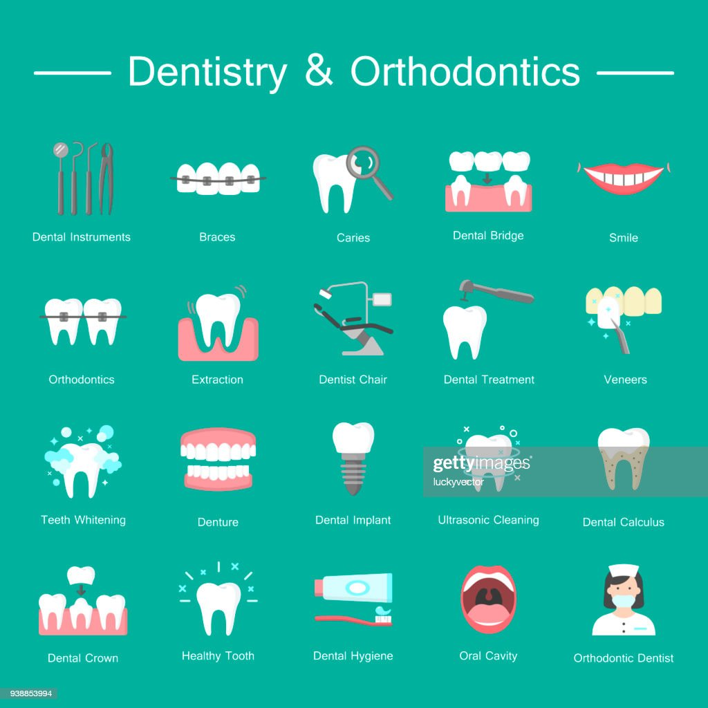 Teeth, dentistry medical flat icons.