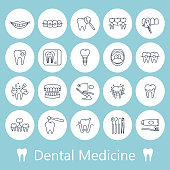 Teeth, dentistry medical line icons.