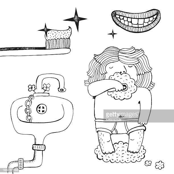 teeth hygiene - brushing teeth stock illustrations