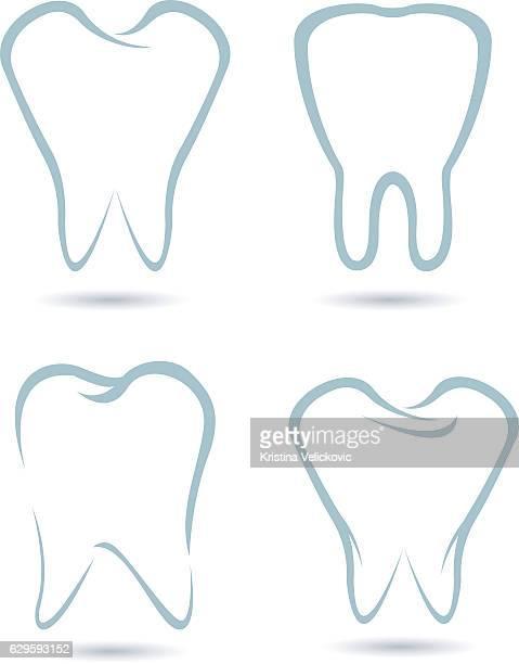 teeth icons - human teeth stock illustrations