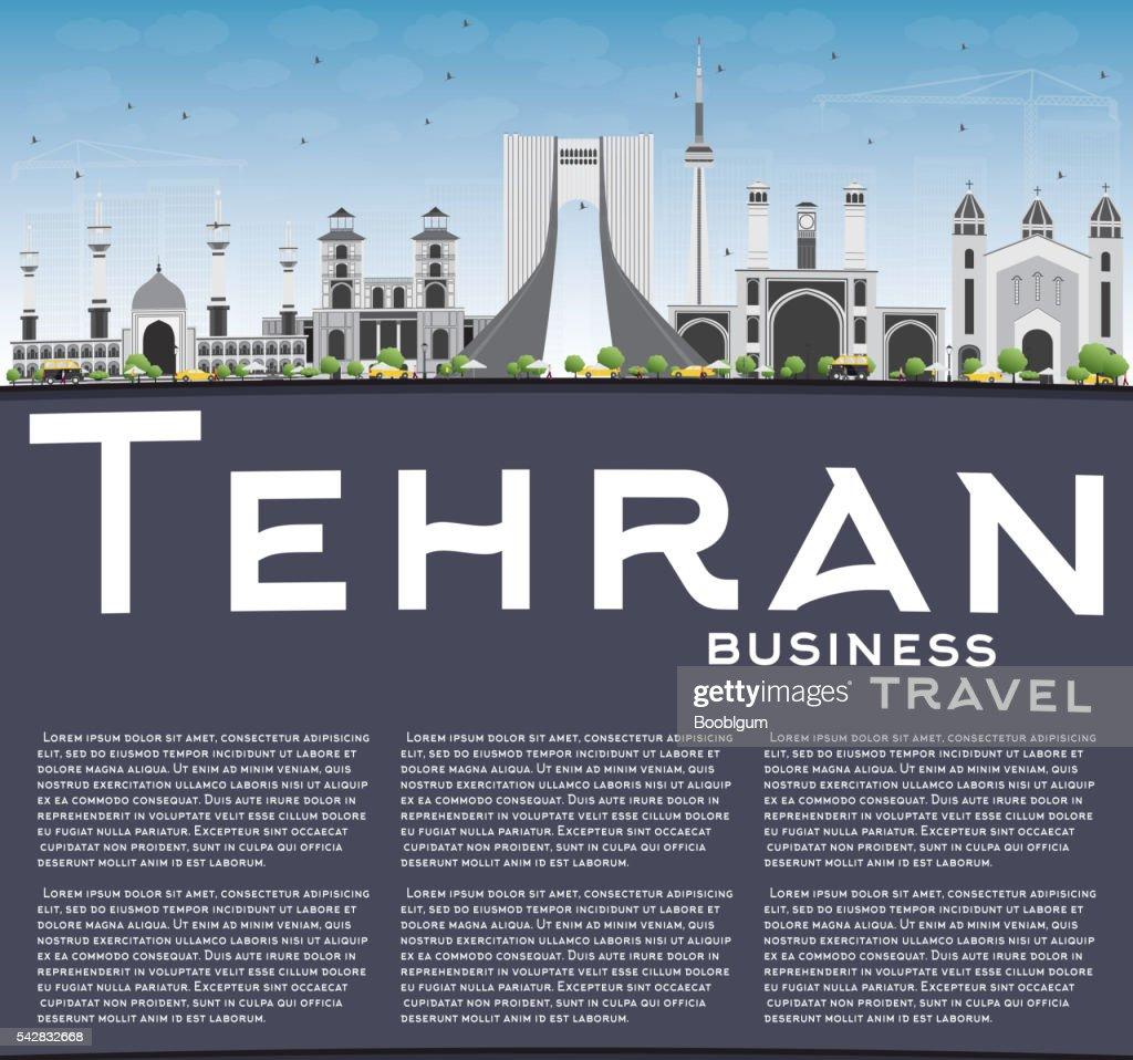Tehran Skyline with Gray Landmarks, Blue Sky and Copy Space.