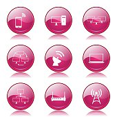 Telecom Communication Pink Vector Button Icon Design Set 2