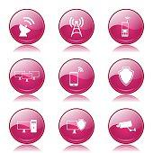 Telecom Communication Pink Vector Button Icon Design Set