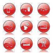 Telecom Communication Red Vector Button Icon Design Set 2