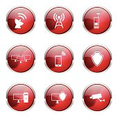 Telecom Communication Red Vector Button Icon Design Set
