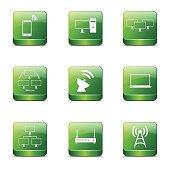 Telecom Communication Square Vector Green Icon Design Set 2