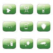 Telecom Communication Square Vector Green Icon Design Set