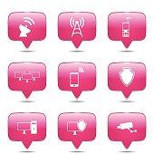 Telecom Communication Square Vector Pink Icon Design Set