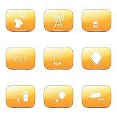 Telecom Communication Square Vector Yellow Icon Design Set