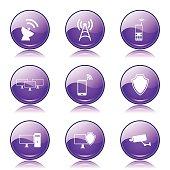 Telecom Communication Violet Vector Button Icon Design Set