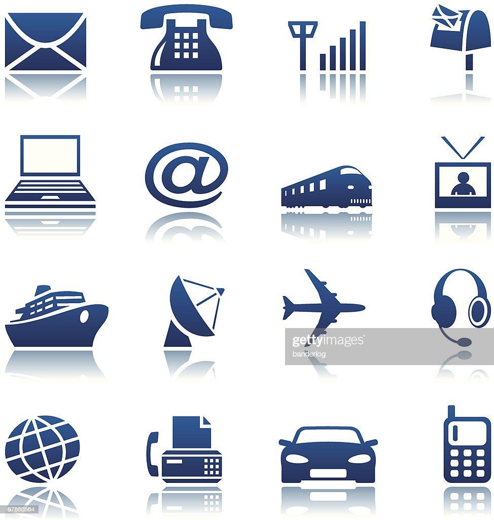 Telecom & transportation icon set
