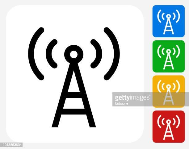 ilustraciones, imágenes clip art, dibujos animados e iconos de stock de icono de la antena de telecomunicaciones - torres de telecomunicaciones