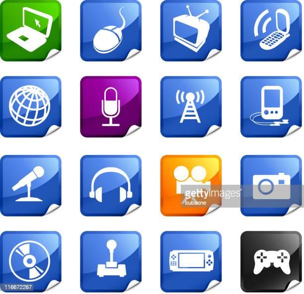 telecommunication technology media sixteen royalty free icons