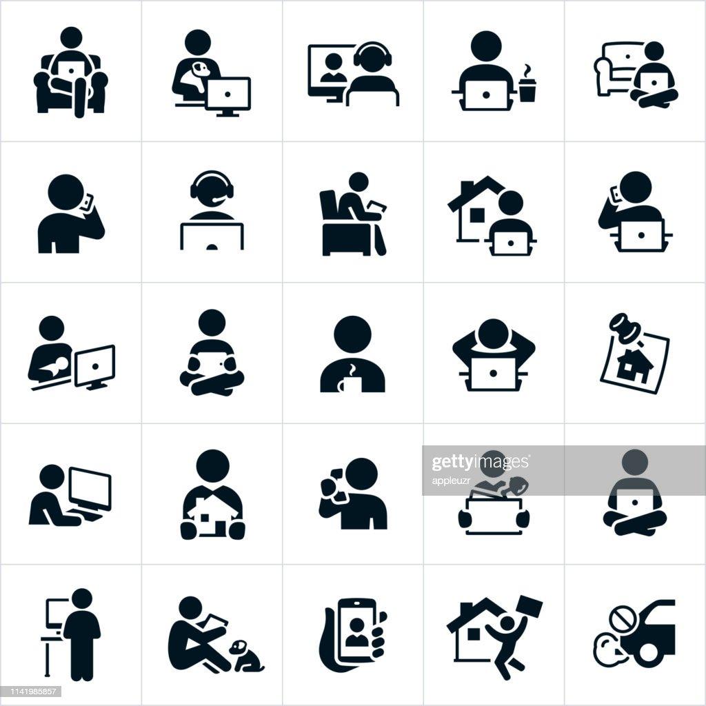 Icone di telelavoro : Illustrazione stock