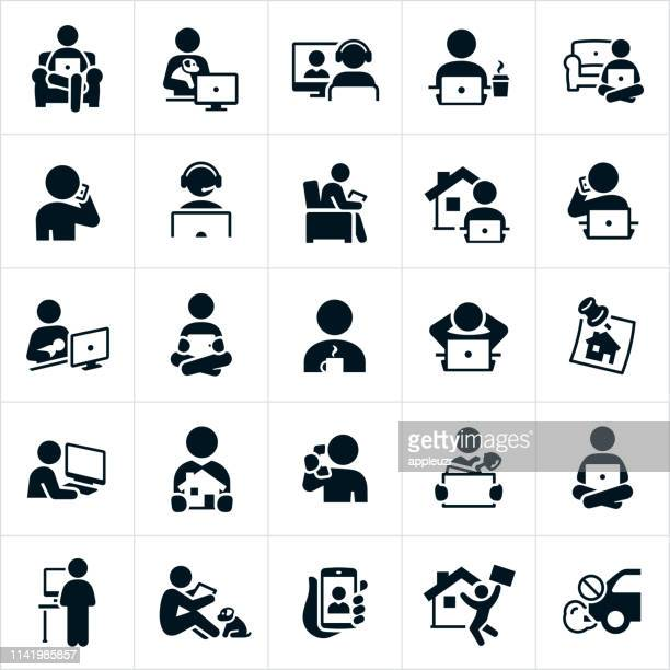 telecommuting icons - parent stock illustrations
