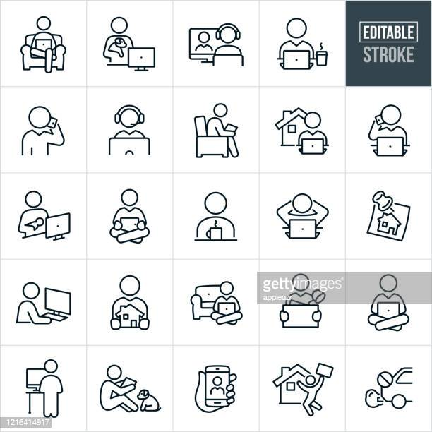 telecommuting thin line icons - editable stroke - using phone stock illustrations