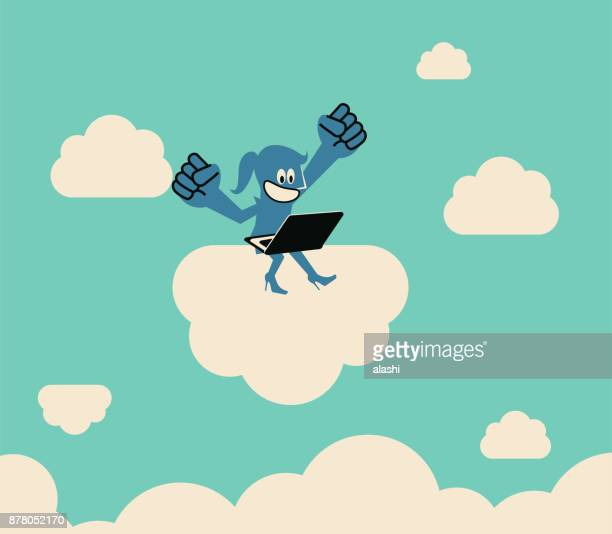 telecommuting, work your way, business woman sitting on a cloud and working with laptop, flying in the sky (floating in the air), punching the air - remote location stock illustrations