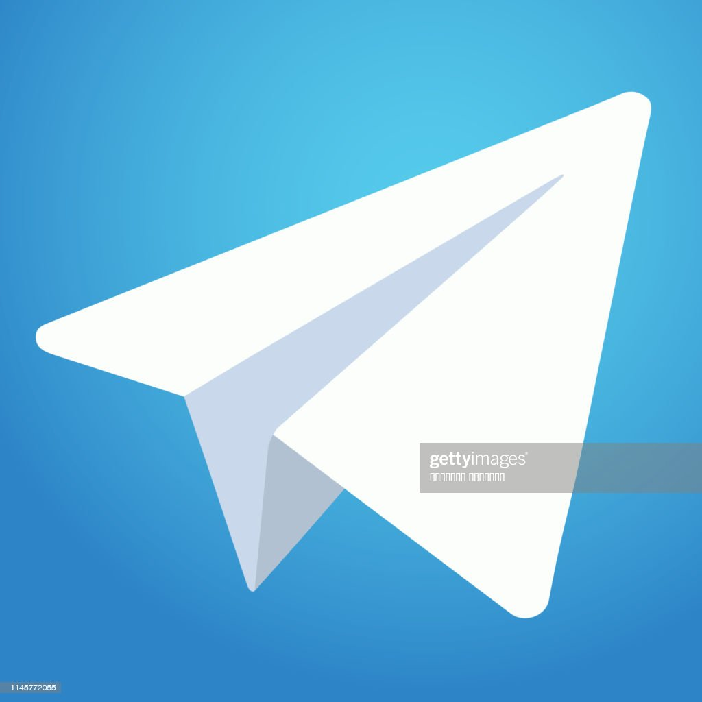 Telegram messenger icon. White paper plane on blue background. Vector illustration. EPS 10
