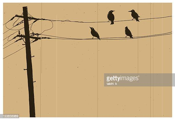 telegraph pole - telephone line stock illustrations, clip art, cartoons, & icons