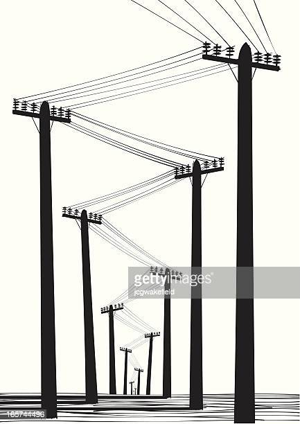 telegraph poles silhouette - telephone line stock illustrations, clip art, cartoons, & icons